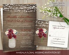 Mason Jar Wedding Invitation. Printable Invitation. Rustic Wedding Invitation. Marsala Burgundy Invitation. String Lights Country Wedding by NotedOccasions on Etsy