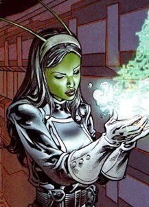 Mantis. In the Eclipse Comics series Scorpio Rose #2 (according to Englehart's website), the character calls herself Lorelei.