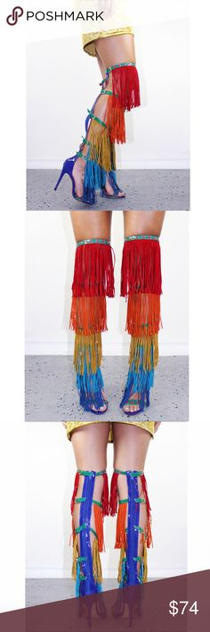 """Fringes Over the knee Rainbow Boots Our Ultraviolet boots are a showstopper! Four rows of different color fringes with 4 differents adjustable buckles straps for easy sizing. The fringes are made of our soft faux suede and the sole is vegan patent leather for a cruelty-free fashion statement.  Heel height: 4.5""""  Imported. Blue District Shoes Over the Knee Boots"""