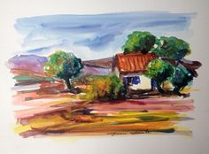 Aquarelle Originale Dam Domido Provence, le mazet isolé Akoun watercolor