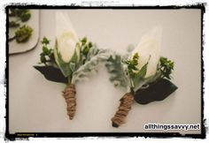 Custom boutonnière with hops for brewery wedding by All Things Savvy, Inc. designer Sarah Simpson