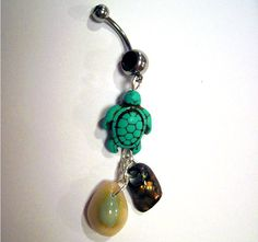 Belly Button Ring Barbell Turquoise Magnasite Turtle Shells Silver Tone Black Crystals. $19.00, via Etsy.