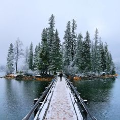 A bridge to a winter wonderland. Photo of Spirit Island on Maligne Lake in…