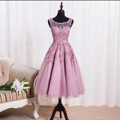 pink tea-length lace appliques short homecoming dress, HD156 #fashion#promdresses#eveningdresses#formaldresses#homecomingdresses