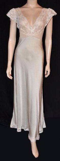 1930s Silk Charmeuse Bias Nightgown
