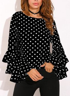 Round Neck Geometric Plain Polka Dot Printed Bell Sleeve blouses for women chic blouses for women casual blouses outfit cute blouses blouses for women work business casual Tops Online Shopping, Shopping Sites, Polka Dot Shirt, Polka Dots, Bell Sleeve Blouse, Casual Tops, Casual Shirt, Mode Style, Shirt Blouses