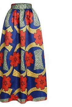 2017 Fashion Women African Print Long Skirt Ankara Dashiki High Waist A Line Maxi Long Umbrella Skirt Ladies Jupe Longue Femme Navy Maxi Skirts, Printed Maxi Skirts, Long Skirts, Women's Skirts, Pleated Maxi, Short Dresses, Style Jupe Maxi, Umbrella Skirt, Long Umbrella