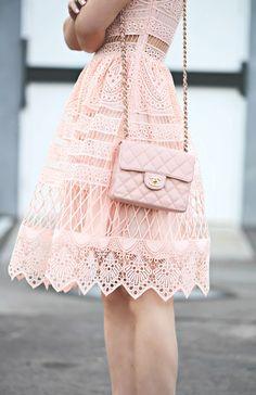 Lace on Lace, Ralph Lauren Jacket, Alexis Pink Lace Dress, Dior Shoes, Chanel Bag, via: HallieDaily