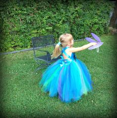 Flower Girl Dress - AURORA - Peacock Wedding - Beach Wedding - Flower Girl Tutu Dress with Satin top, Flower and feather sash included. on Etsy, $89.00