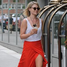 I love her outfit!    Ali Larter's Red Wrap Skirt
