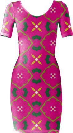 Fuchsia Geometric Bodycon Dress