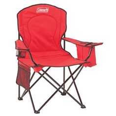 Camping Equipment – Oversize Quad Camping Chair with Cooler Red