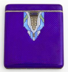 "Art Deco Austrian Guilloche Enamel on .935 Sterling Cigarette Case, c. 1940, # 17028, with a gilt washed interior, the front with a lapis mounted catch, verso with an inset monogram ""MMF,"" H.- 3 5/16 in., W.- 2 7/8 in., D.- 3/8 in."
