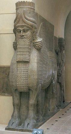 Lamassu (winged, human-headed bull), from the citadel of Sargon II, Dur Sharrukin (modern Khorsabad), Iraq, ca. 720–705 BC. Limestone.