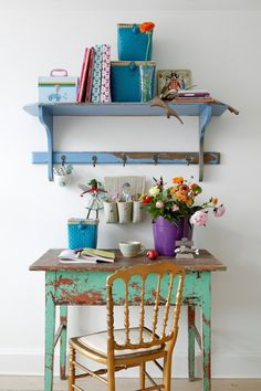 decor, desk space, work stations, color, painted tables, shabby chic, offic, wall shelves, workspac