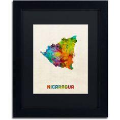Trademark Fine Art Nicaragua Watercolor Map Canvas Art by Michael Tompsett Black Matte, Black Frame, Size: 16 x 20, Multicolor