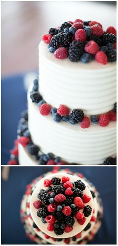 raspberries, blueberries, and blackberries put a refreshing twist on classic white cake. #cake #baking #dessert