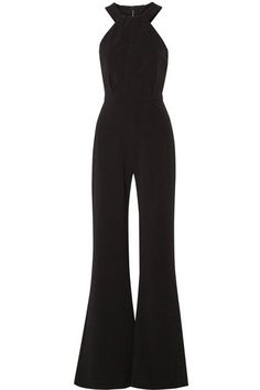 Saloni - Fern Stretch-cady Halterneck Jumpsuit - Black - UK12