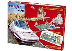 Tren electrico a pilas que incluye 1 locomotora con motor, 2 vagones centrales, 1 locomotora cola sin motor, 22 vias curvas, 11 vias rectas, 1 encarrilador, 1 desvio derecha, 1 desvio izquierda, 1 semaforo, 1 semaforo paso a nivel, 2 farolas, 4 señales, 2 camiones, 1 maqueta ciudad, 1 lámina... http://comprarmaquetasde.com/producto/medios-transporte/trenes/pequetren-renfe-ave-tren-con-circuito-de-6-5-m-720/