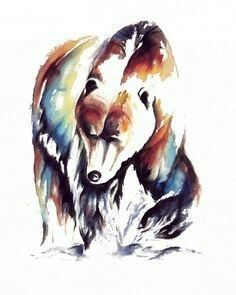 Born and raised in California I want something that will rep, love this! Native Art, Native American Art, Backpiece Tattoo, Bear Paintings, Bear Pictures, Bear Art, Painting & Drawing, Watercolor Paintings, Bears