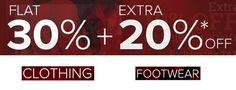 Flat 30 % + Extra 20 % OFF on Apparels, Footwear, Watches, Bags & Furnishing @Yusuf Mandvi
