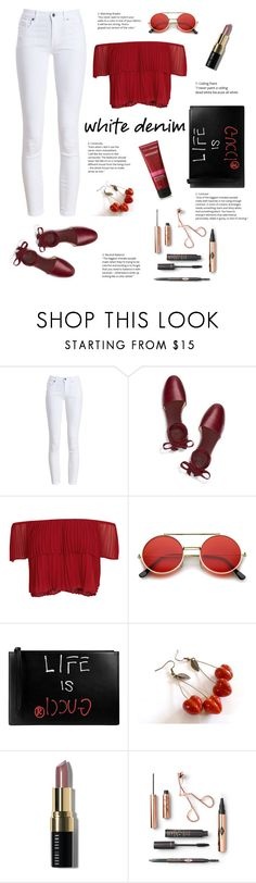 """""""White jeans on summer"""" by cathysiregar ❤ liked on Polyvore featuring Barbour, Tory Burch, Keepsake the Label, ZeroUV, Gucci, Bobbi Brown Cosmetics and red"""