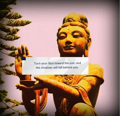 """Turn your face toward the sun, and the shadows will fall behind you."" - #Buddha"
