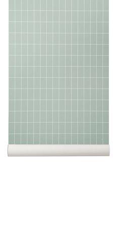 Ferm Living behang / wallpaper Grid Dusty Green