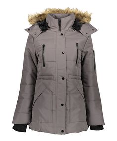 Look at this Steel Faux Fur-Trim Puffer Coat - Plus Too on #zulily today!