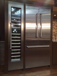 Wine cooler next to refrigerator Kitchen Refrigerator, Wine Fridge, Home Decor Kitchen, Kitchen And Bath, Luxury Kitchens, Home Kitchens, Italian Wine, Updated Kitchen, Modern Kitchen Design
