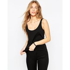 ASOS The Ultimate Tank (£5.92) ❤ liked on Polyvore featuring tops, black, asos tops, black top, black scoop neck top, black tank and scoop neck tank