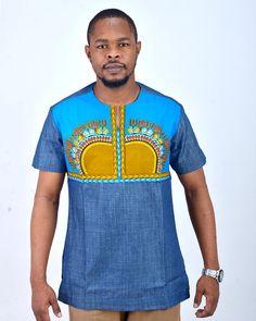 Items similar to Doumba Dashiki African Traditional Shirt Attire - Blue Denim/Print on Etsy African Attire, African Wear, African Dress, African Clothing For Men, African Shirts, African Clothes, Nigerian Men Fashion, African Print Fashion, Mode Masculine