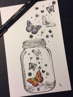 Butterflies in a jar doodle drawings, easy drawings, doodle art, tattoo drawings, Cool Art Drawings, Pencil Art Drawings, Doodle Drawings, Art Drawings Sketches, Art Sketches, Drawing Art, Tattoo Drawings, Cute Drawings Tumblr, Tattoo Sketches