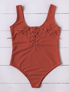 Lace Up Scoop Neck One-Piece Swimwear