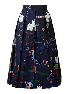 Dark Blue Cute Character Print Pleated Midi Skirt