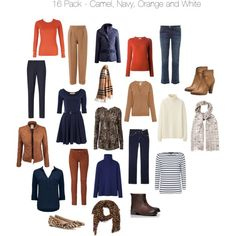 16 Piece Wardrobe - Camel, Navy, Orange by harriett-moore on Polyvore featuring Forever New, Jaeger, Uniqlo, Witchery, Paul & Joe, Clothes Effect, Equipment, Joules, Cédric Charlier and Current/Elliott