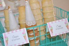 Ice Cream Birthday Food Label Tent Cards by sosweetpartyshop