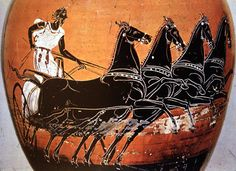 Etruscan painted pottery detail of a four-horse chariot C.500BC