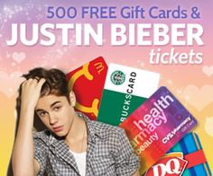 We're Giving Away 500 Gift Cards   Bieber Concert Tickets!