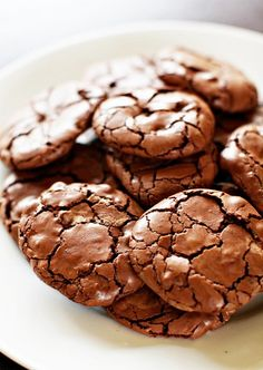 Chocolate brownie cookies. They taste like miniature brownies — but oh, the texture! They're reminiscent of a meringue, with a soft, chewy, fudgy center and a crisp exterior that crackles appealingly.