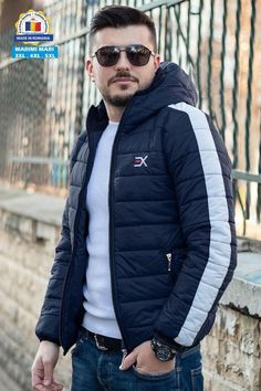 Geaca Exclusive Bleumarin - Alb Winter Jackets, Casual, Fashion, Winter Coats, Moda, Winter Vest Outfits, Fashion Styles, Fashion Illustrations
