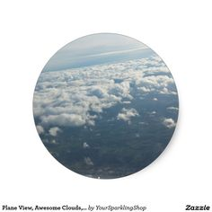 Plane View, Awesome Clouds, Sky Classic Round Sticker