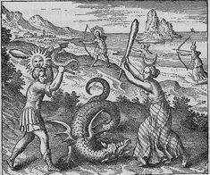 Draconon moritur, nisi cum fratre & sorore sua interficiatur, qui sunt Sol & Luna. (Le dragon ne meurt que s'il est tué par son frère et sa sœur, qui sont le soleil et la lune1.) Atalanta fugiens XXV - Michel Maier -