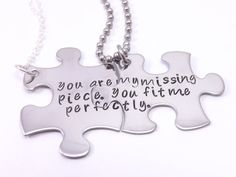 The Original You Are My Missing Piece, You Fit Me Perfectly- Personalize Your Own His and Her Puzzle Piece Necklace Set, Couples Jewelry by MissAshleyJewelry, $45.00