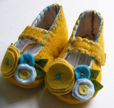 Color Pop Contrast Felt Mary Jane Soft Shoe Baby Booties Yellow and Turquoise