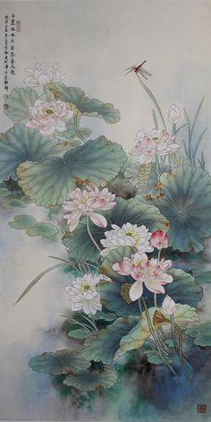 Чжао Юн Стив Japanese Art Prints, Japanese Drawings, Japanese Artwork, Lotus Flower Art, Lotus Art, Lotus Painting, Japan Painting, Korean Painting, Chinese Painting