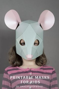 Easy To Assemble Paper Mask For Kids. Diy Animal Masks For Halloween , New Year Or Birthday Party. By Smagapaperwood Animal Masks For Kids, Mask For Kids, Diy Mask, Diy Face Mask, Face Masks, Halloween Masks, Halloween Costumes For Kids, Printable Animal Masks, Cardboard Mask
