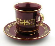 greek cup and saucers Nika Victory rare 24 kt gold