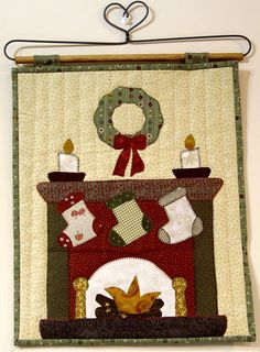 christmas fire place and stockings ~would make a cute wall hanging, esp w/ family members names embroidered on the stockings ~m