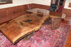 Rustic Desk - rustic office desk, live edge wood slabs